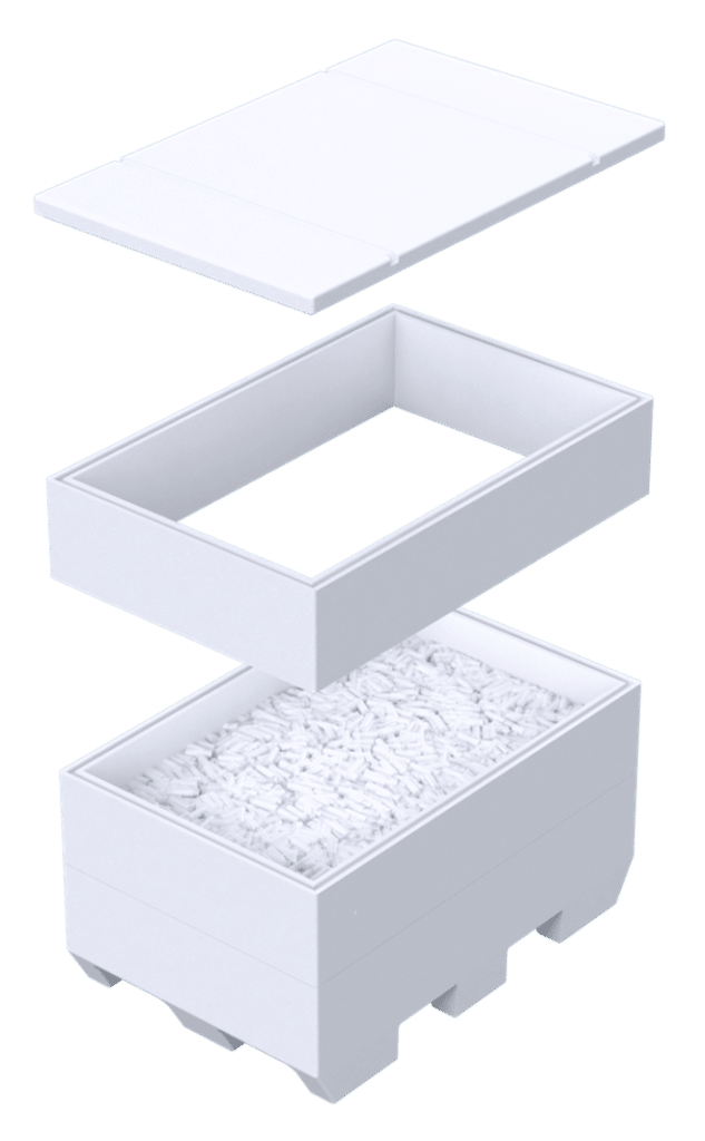 Boite isotherme modulable en PSE - de 138 à 988 L - transport de CO2 solide en pellets